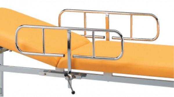 Seitengitter und Seitenschiene mit Befestigungskloben für Vierkantrohrliegen.