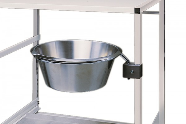 Abwurfschale Chromnickelstahl mit Schwenkarm und Befestigungskloben für Variocar® Ø 320 mm.