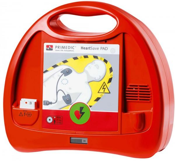Primedic™ HeartSave PAD Defibrillator halbautomatisch mit 3-Jahres-Lithium-Batterie.