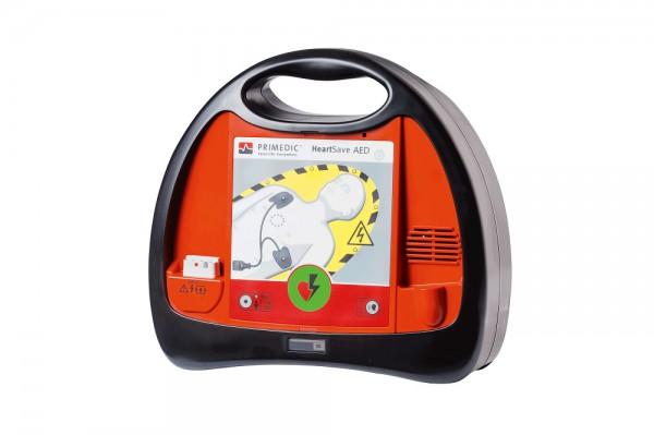 Primedic™ HeartSave AED Defibrillator mit 6-Jahres-Lithium-Batterie.
