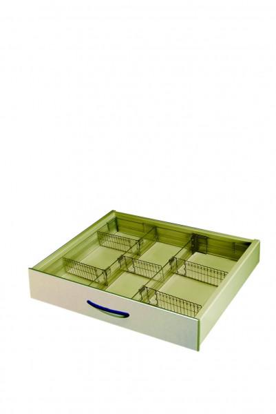 Schubladeneinsatz mit variablen Einteilungen herausnehmbar, spülmaschinenfest transparent