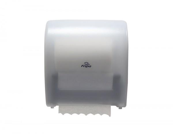 System-Handtuchrollenspender halbautomatisch Kunststoff - Abreißstopp bei 24 cm B x H x T: 320 x 335 x 220 mm transparent / weiß