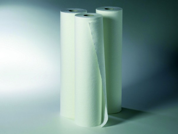 Liegenrollen Fripa-med duo-line+ 2-lagig - Tissue - 100 % Zellstoff 39 cm x 100 m - Abriss: 38 cm hochweiß.