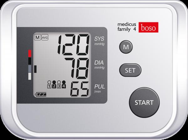 Blutdruckmesser digital boso medicus family 4 XL inkl. XL-Zugbügel-Klettmannschette und hochwertigem Etui