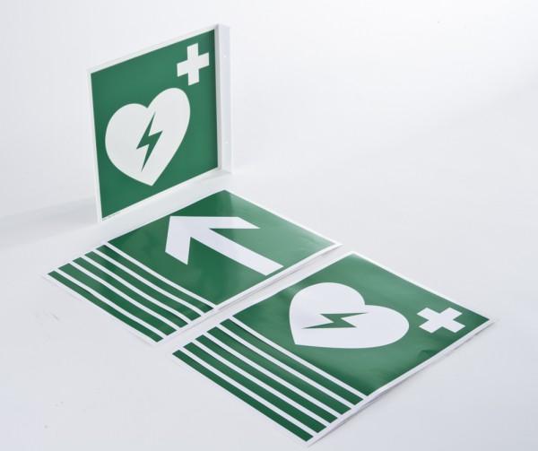 Hinweisschilder-Set 1 bestehend aus 6 x Pfeilaufkleber + 6 x Herzaufkleber.