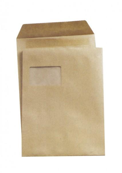Versandtaschen mit Fenster selbstklebend DIN C4 - 229 x 324 mm - 90g, braun.
