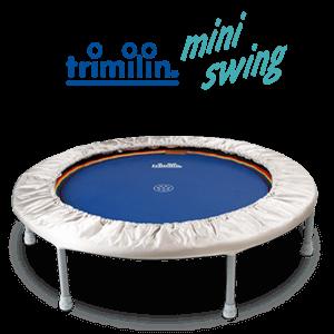 Trimilin miniswing plus Trampolin mit Gummikabel bis 80 kg Körpergewicht Ø 102 cm - Höhe 26 cm Matte schwarz - Randbezug silber Abb. ähnlich
