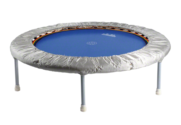 Trimilin swing Trampolin mit Gummikabel bis 90 kg Körpergewicht Ø 120 cm - Hoch: 29 cm Matte blau - Randbezug silber