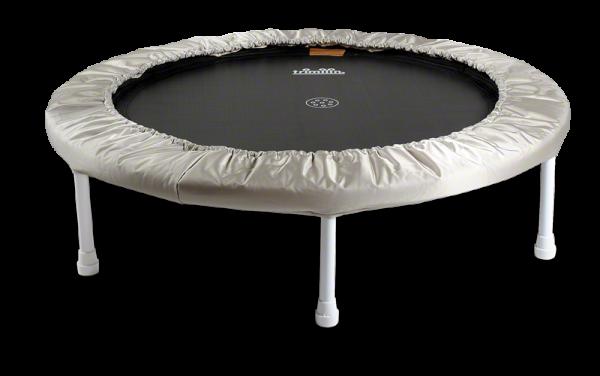 Trimilin sport Trampolin mit 36 Stahlfedern für 50 - 125 kg Körpergewicht Ø 102 cm - Hoch: 24 cm Matte schwarz - Randbezug silber