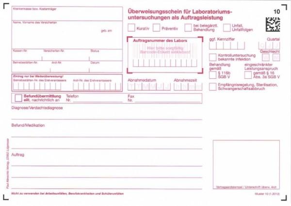 Überweisungsschein 10 (FA Kasse/Privat)