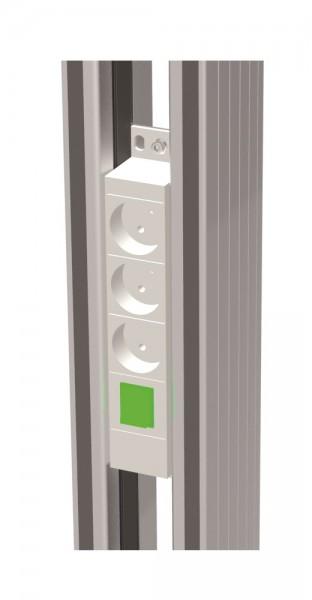 Steckdosenleiste 3-fach - Typ F standard zur Befestigung zwischen den Profilen B x T x H: 220 x 44 x 44 mm.