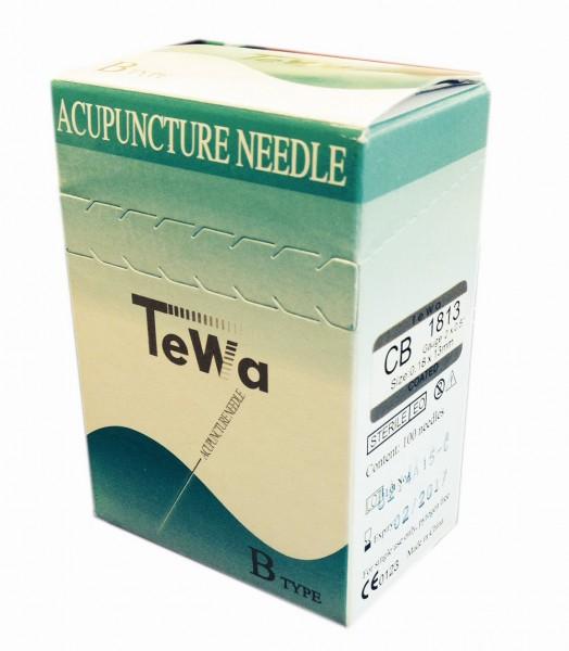 Akupunkturnadeln TeWa - CB-Type mit Kupferwendelgriff und Öse 0,16 x 10 mm.