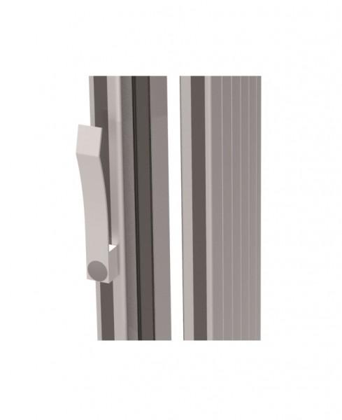 Kabelklammer aus grauem Kunststoff zur Anbringung hinten am Trägerprofil.