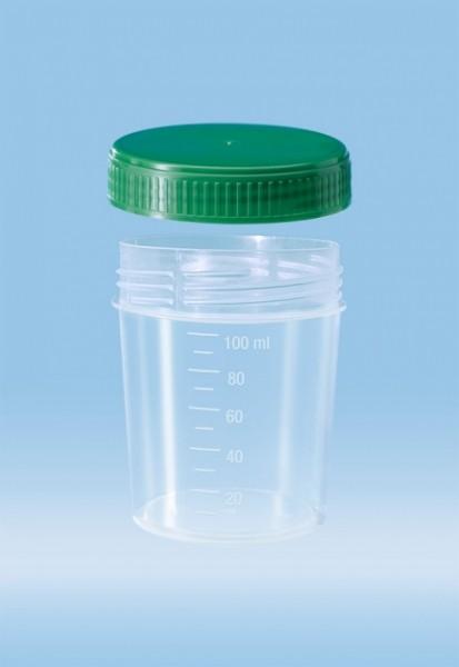 Urinbecher m. Schraubverschluß grün, 100 ml