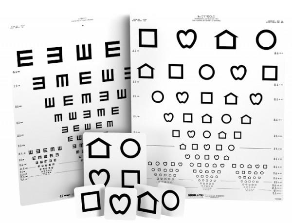 SET - Nahtestkarte LEATM-Symbole / LEATM-Zahlen Wandtafel LEATM-Symbole / E-Haken LANG-Stereotest II Matsubara-Farbtest Mattglasokkluder Schmetterling.