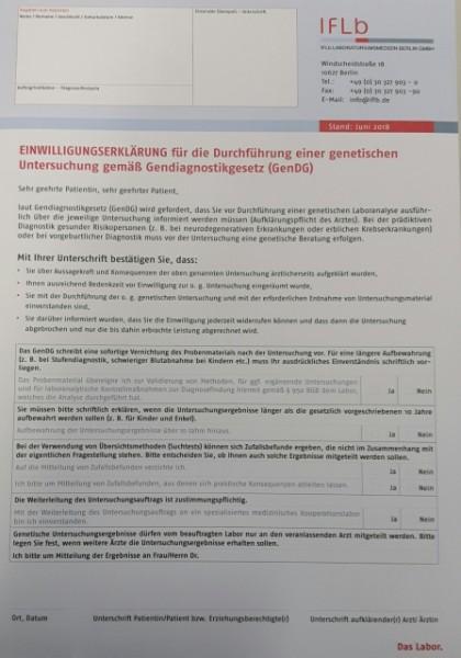 Einwilligungserklärung für die Durchführung einer
