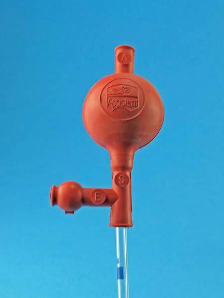 Pipettierball Standardmodell für Mess- und Vollpipetten bis 10 ml, rot.