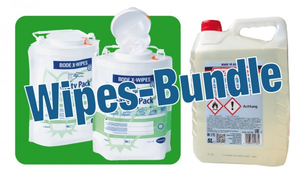 Wipes-Bundle , 1 Safety Pack Wipes, Text 1 Kanister Flächendesinfektion - 5 Liter