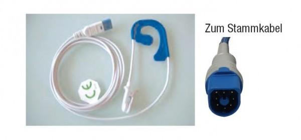 Ohrsensor SpO2 klein Typ HP/Philips Hufeisen 8-pin Stecker zum Stammkabel Länge 150 cm