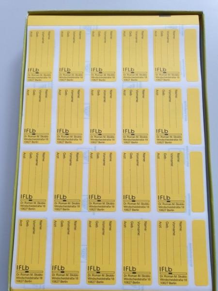 Etiketten, 51 x 24 mm, gelb Name Vorname, Geb., Arzt