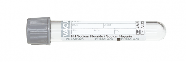 Vacuette® Röhrchen FH Natrium Fluorid Natrium Heparin 2 ml - 13 x 75 mm grau/weiß